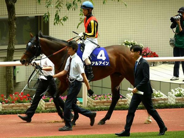 私の本命5番人気(4)アルアイン号(牡5歳)と北村友一騎手、池江調教師