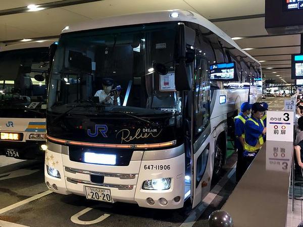 大阪駅から乗車した夜行バス