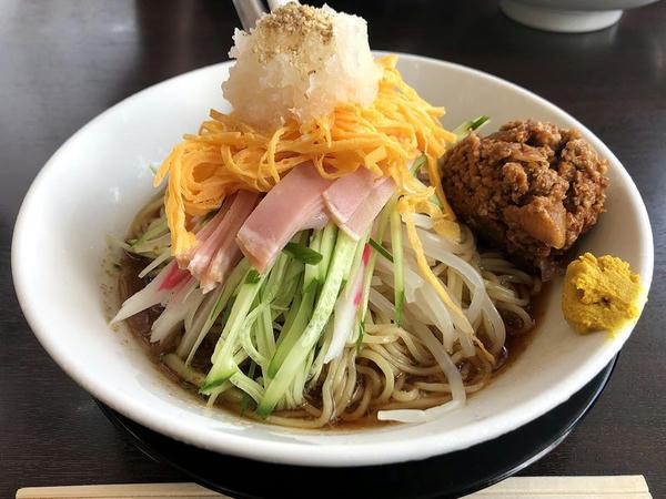 おろし冷し中華 890円 + 辛ひき肉 100円