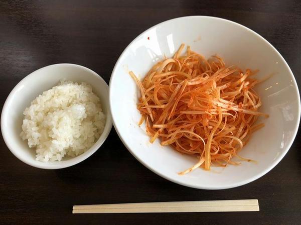 ミニごはん (平日ランチタイムサービス) + 辛ネギ ガチャガチャ4等で100円