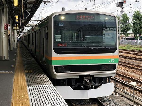 宇都宮駅に停車中の上野東京ライン普通列車
