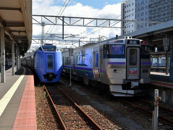 キハ281系気動車と733系1000番台電車との並び