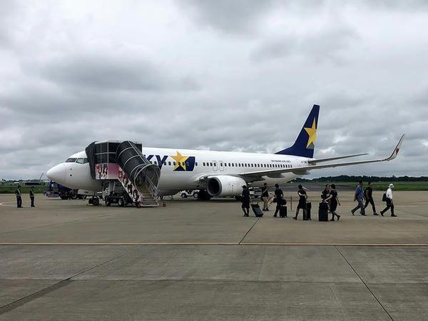 茨城空港に到着したスカイマークSKY790便