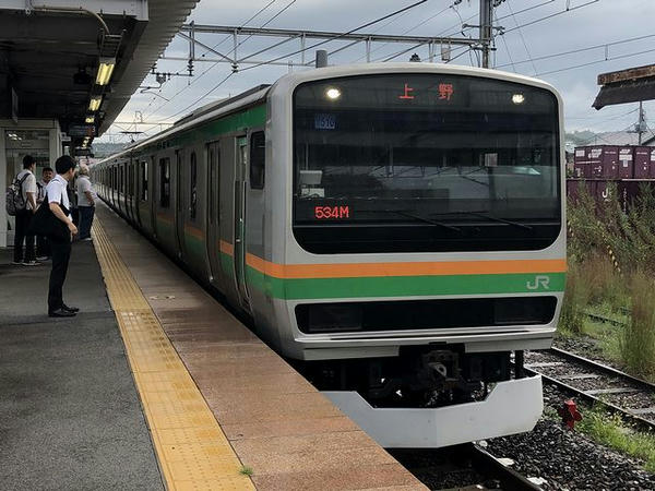 JR某駅に入ってくるJR東北本線(宇都宮線)上野行き普通列車