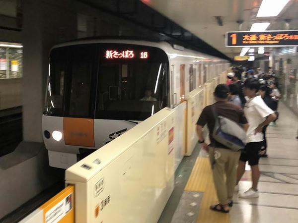 二十四軒駅に入ってくる札幌市営地下鉄東西線新さっぽろ行き普通列車
