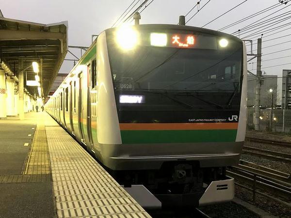 宇都宮駅に停車中の大船行き普通列車
