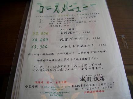 成龍飯店(メニュー11)