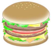 フリーイラスト 「ハンバーガー・ファストフード・アメリカンフード」