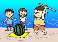 海・海水浴場・浜辺・砂浜・スイカ割り・西瓜割り