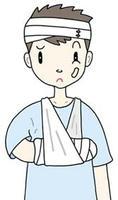 骨折・怪我・リハビリ・骨折治療・腕の骨折・包帯・ギブス・つり包帯・三角巾