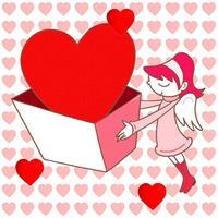 バレンタインデーのイラスト 「愛・ハート・贈り物・女性」
