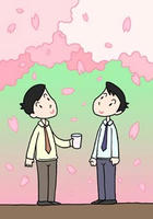 桜・桜吹雪・桜の花びら・花見酒