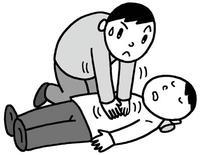 健康・医療のイラスト 「心臓マッサージ・心マッサージ・救命措置・心肺蘇生術・胸骨圧迫」