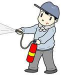 「消火訓練・防災訓練・消火器・消火器取り扱い・火災訓練・火災予防」のイラスト