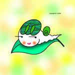 かたつむりキャラクター・イラストレーション 「葉っぱの上の蝸牛」