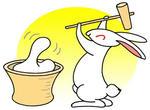 餅つき・ウサギ・うさぎ・兎・卯・年賀状・年賀はがき