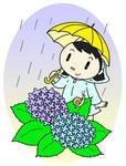 入梅・梅雨・蝸牛・カタツムリ・雨・傘・紫陽花・レインコート
