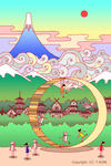 富士山・輪・リング・回転・雲海・古都