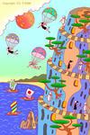 絶壁・帆船・帆掛け舟・松の木・バラシュート・山道