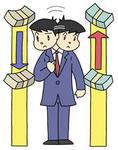 円安ドル高・為替レート変動・円安傾向・ドル高傾向・為替相場・紙幣・札束・証券マン
