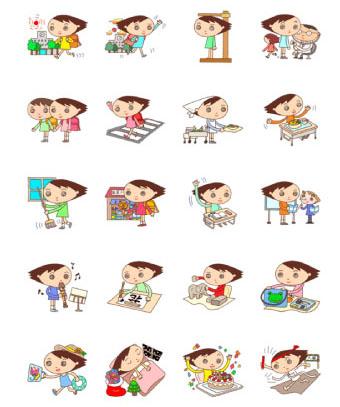 ラインスタンプ 「子供キャラクター - くるくる小学生」