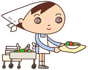 給食・給食当番・配膳係・割烹着・エプロン・白衣・食育