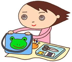 家庭科・家庭科実習・裁縫・裁縫箱・裁縫道具・手提げカバン