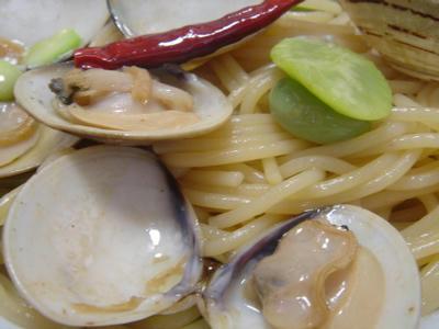 蛤と空豆のパスタ