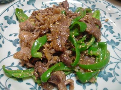 牛肉とピーマンの味噌炒め