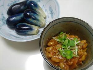 茄子漬けとキムチ納豆