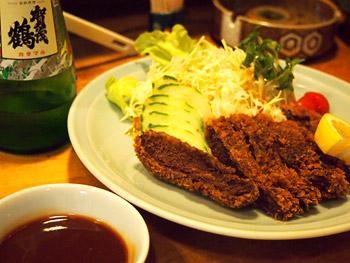 戦艦霧島の鯨肉カツレツ+賀茂鶴!