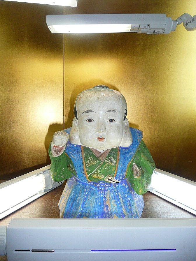 人形☆福助☆クレヨン落書き有☆右手修理済