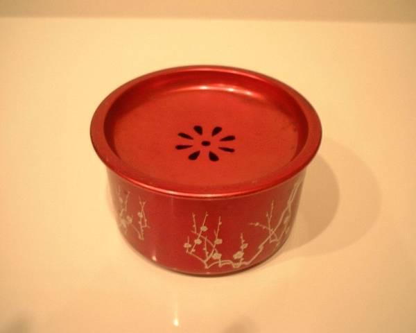 鮮やかな赤の香炉(大) 線香アロマセラピー