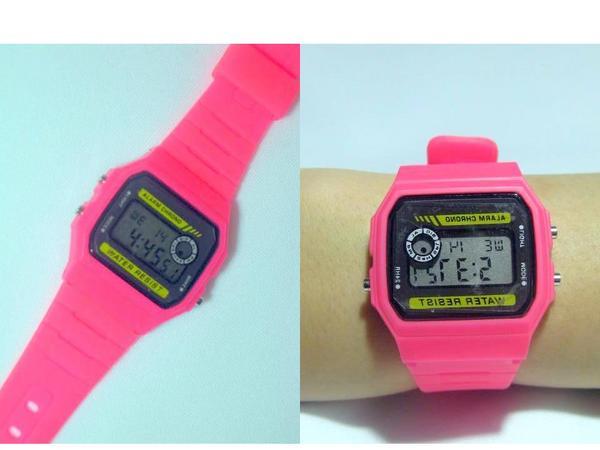 ユニセックスカラフルデジタル腕時計ピンク