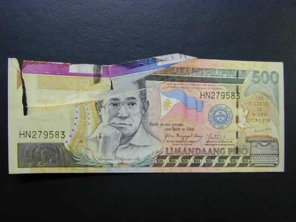 折り紙状3次元エラー フィリピン500ペソ紙幣