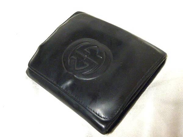 572GUCCI/グッチ◆Wホック3つ折り財布/ブラック/レザー