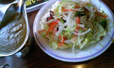 とりの唐揚とサラダカレー