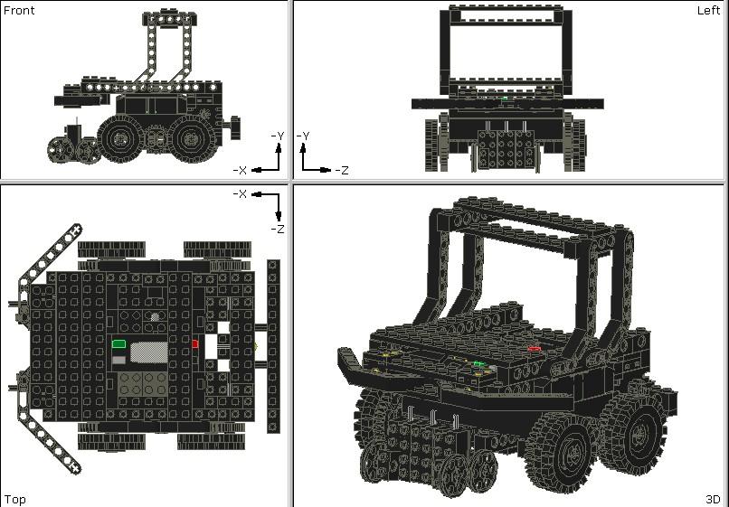 MLCADを利用して作成されたRadium機のマイナーチェンジ設計です。このように4画面になっていて右下以外の画面で部品を配置、設計し、右下の画面で実際に作成したものをリアルタイムで確認できるようになっています。