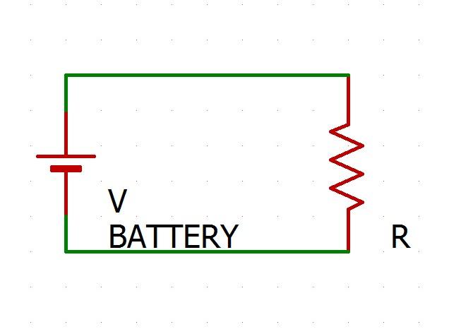 抵抗と電池だけの回路ですね。場合によっては危険なので実際に作ったりはしないでください。