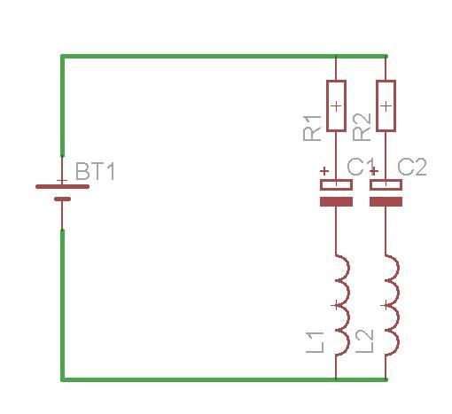 配線図です。実はここだけの話、この例の回路は配線図にしたときにみやすくなるように簡単な回路を造ったら配線図と全く同じ並びでパターン図ができてしまうという事故が発生しました(笑)こんなことめったにないんだけどなぁ・・・。あと直流電源にこの回路はちょっと・・・とかそういう突っ込みは勘弁してください(笑)