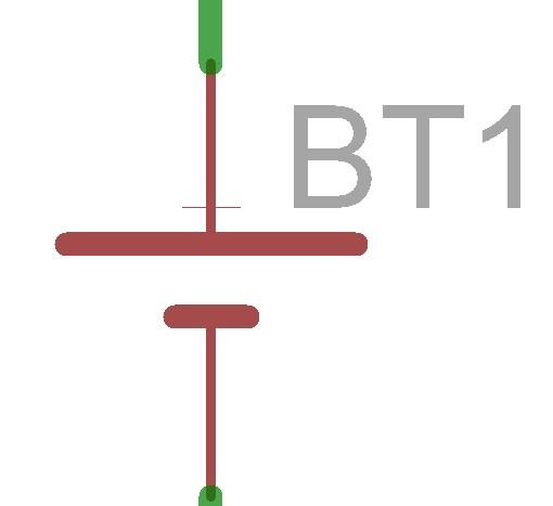 電池の回路図記号です。まぁソフトによって微妙に表記が違ったりしますが大体これです。他の電池より電圧が大きいことを強調したい時とかはこれを二つ並べたりします。