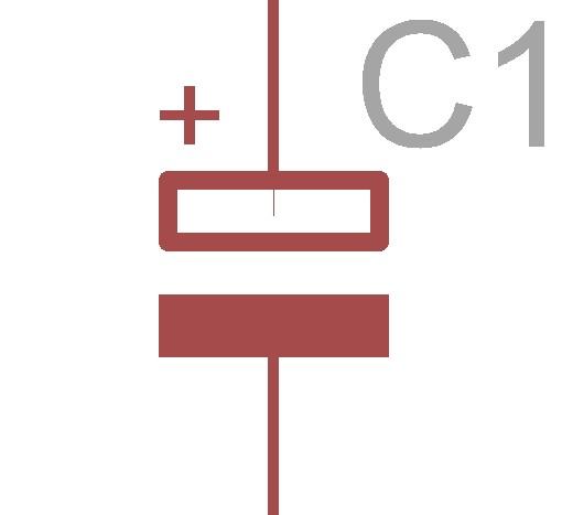 コンデンサの回路図記号です。コンデンサは種類によっての表記の違いがほかの素子より多い(様な気がします)。因みにこれはアル電の回路図記号です。極性があるので片っぽに+と書いてありますね。