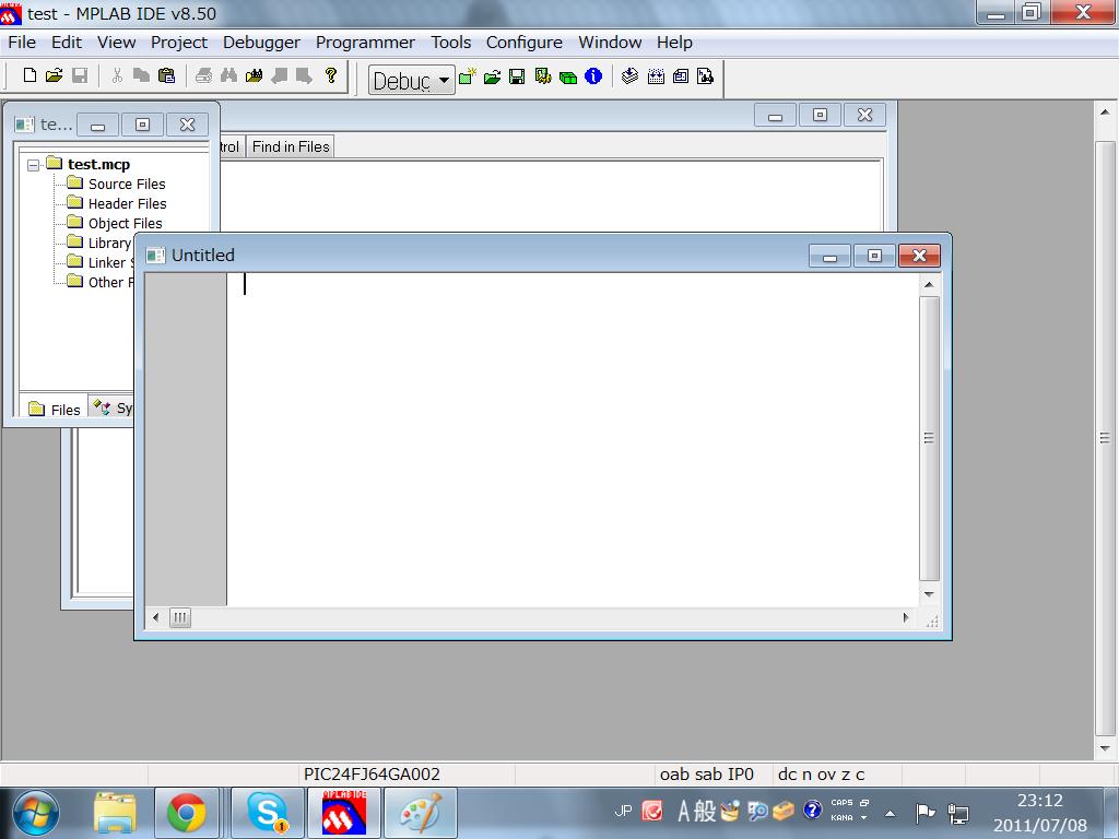 このuntitleのところにプログラムを書いていきます。