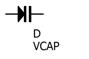 バリキャップダイオードの回路図記号です。