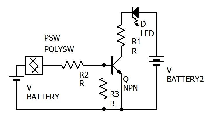 トランジスタを使ったLEDの点滅回路です。