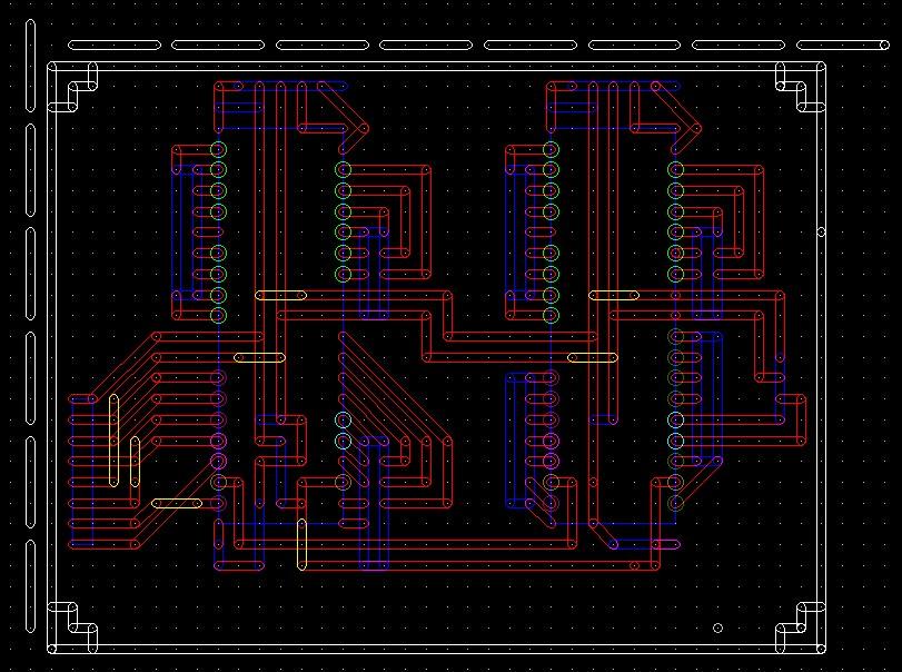 PCBEで作成したパターン図です。一応あまりえぐくない最近の回路のを選んだつもりです。