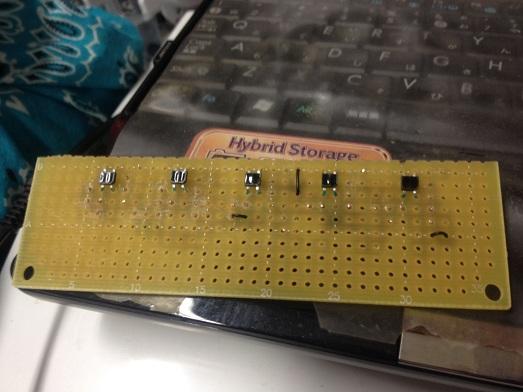 制作したライトセンサー。5つ並んでます