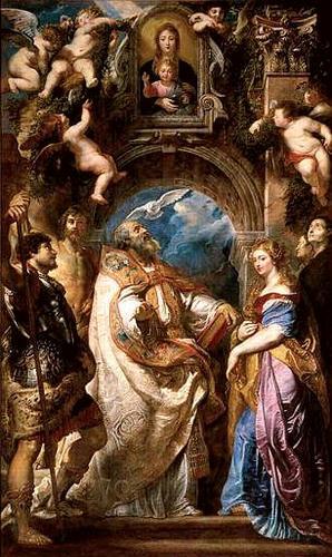 Saint Grégoire pape, entouré de saints et de saintes, vénérant l'image miraculeuse de la Vierge à l'Enfant, dite de Santa Maria in Vallicella