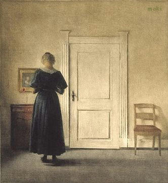 Back turned woman in a room by Peter Ilsted