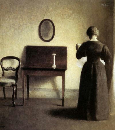 A Lady Reading In An Interior - Vilhelm Hammershøi